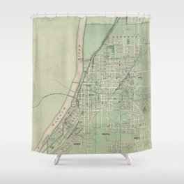 Vintage Map of Lafayette Indiana (1876) Shower Curtain