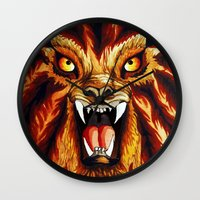 werewolf Wall Clocks featuring Werewolf by BluedarkArt