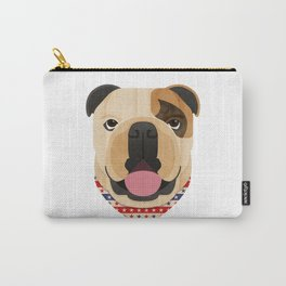 American Bulldog Dog Portrait Carry-All Pouch