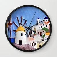 greek Wall Clocks featuring Greek island by Brian Raggatt