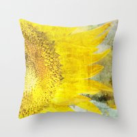 sunflower Throw Pillows featuring Sunflower by Maria Heyens