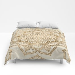 Flower of Life in Lotus - pastel golds and canvas Comforters