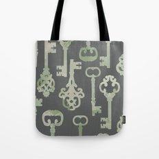 Skeleton Key Pattern in Gray Tote Bag