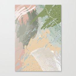 Sage Green Dusty Rose Pastel Watercolour Pattern Canvas Print