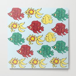 Fish pattern 5E Metal Print
