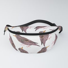 Common starling or European starling or Sturnus vulgaris watercolor birds painting Fanny Pack