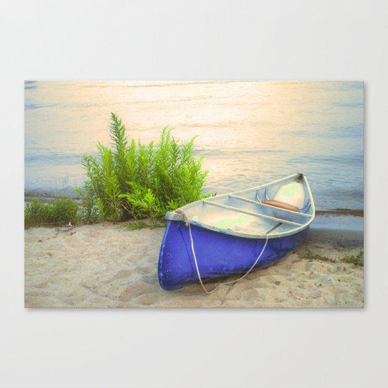 Blue Canoe Canvas Print