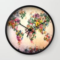 map of the world Wall Clocks featuring world map by Bekim ART