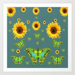 SUNFLOWERS & GREEN MOTHS ABSTRACT ART Art Print