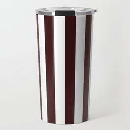 Narrow Vertical Stripes - White and Dark Sienna Brown Travel Mug