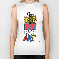 pop art Biker Tanks featuring Pop, Pop, Pop, Pop Art by Raheem Nelson