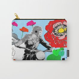 Red Flowers and Lady biking Carry-All Pouch