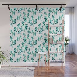soft teal and blue leaves Wall Mural