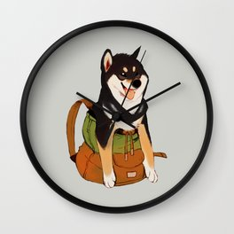 Shibackpack (Black&tan) Wall Clock