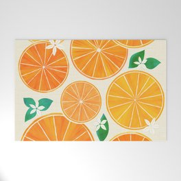 Orange Slices With Blossoms Welcome Mat