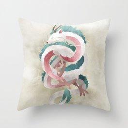 Spirited away - Haku Dragon illustration - Miyazaki, Studio Ghibli Throw Pillow