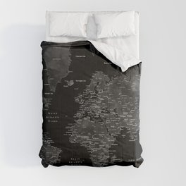 Black and grey world map with cities Comforters