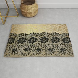 Black floral luxury lace on gold damask pattern Rug
