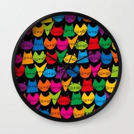 Jelly Cats Hand Drawn on Black Wall Clock