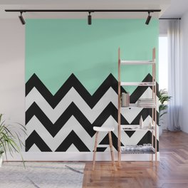 MINT GREEN COLORBLOCK CHEVRON Wall Mural