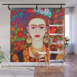 My other Frida Kahlo with butterflies Wall Mural