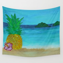 Pineapple On The Beach - Vibrant Wall Tapestry