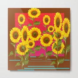 BROWN SUNFLOWER FIELD SAFFRON GRAPHIC ART Metal Print