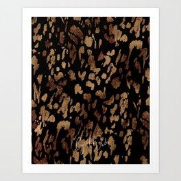 Mod Animal Print - Black + Gold Art Print