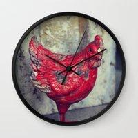 chicken Wall Clocks featuring Chicken by KunstFabrik_StaticMovement Manu Jobst
