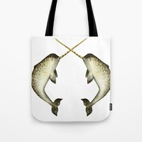 narwhal Tote Bags featuring Narwhal by Kirsten Sevig
