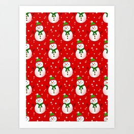 Snowman Pattern Red - Merry Christmas Art Print
