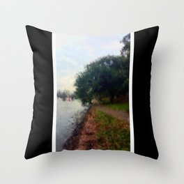 Beautiful Brisbane City - Botanic Gardens Digital Painting Throw Pillow