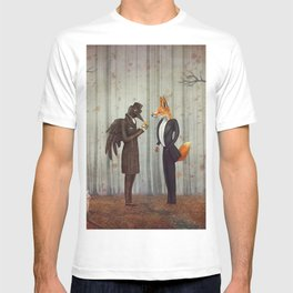 Raven and Fox in  a dark forest looking at the watch T-shirt