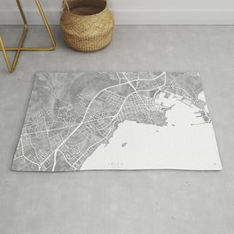 Grayscale watercolor map of Ibiza, Spain Rug