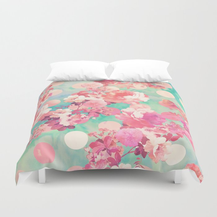 Romantic pink retro floral pattern teal polka dots duvet cover