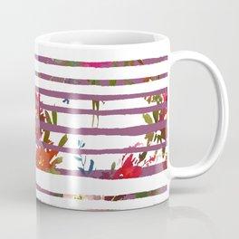Modern pink orange tropical floral stripes pattern Coffee Mug