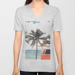 Vintage car parked on the tropical beach (seaside) with a surfboard on the roof - Leisure trip in the summer. retro color effect Unisex V-Neck