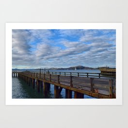 Cloudy Pier - Alcatraz Island Art Print