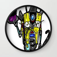 """borderlands Wall Clocks featuring """"Welcome Travelers... To The Claptrap Variety Show!""""  Borderlands 2 comes alive! by beetoons"""