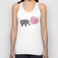 pink Tank Tops featuring Jumbo Bubble Gum  by Terry Fan