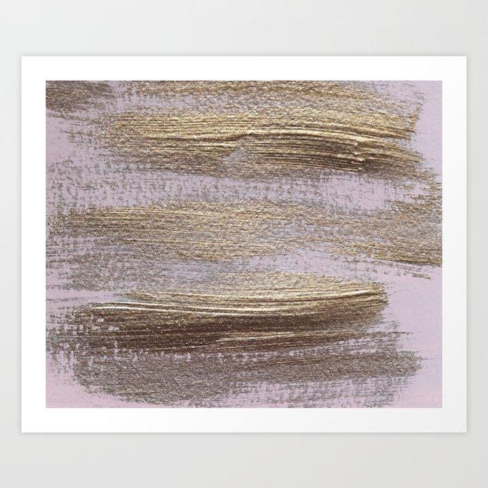 Metallic Abstract Painting 4 Texture Minimalism Art Print By Andreaanderegg