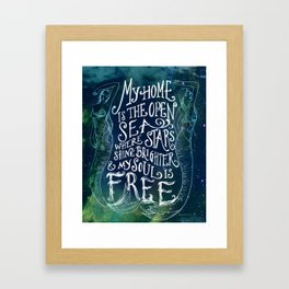 My Home is the Open Sea (Dark Night) Framed Art Print