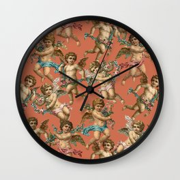 Stucco Cherubs in Terracotta Apricot Wall Clock