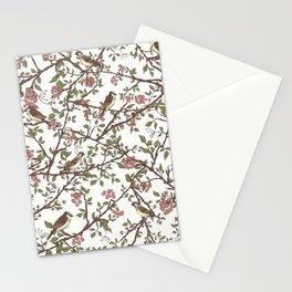 Sparrow Tree - Seamless Pattern Stationery Cards