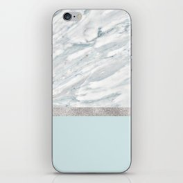 Calacatta verde - silver turquoise iPhone Skin
