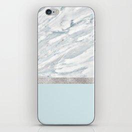 Calacatta verde - silver turquoise iPhone Skin