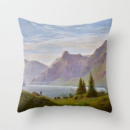 Landscape with Mountain Lake, Morning by Caspar David Friedrich Throw Pillow