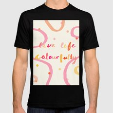 live life colourfully Black MEDIUM Mens Fitted Tee
