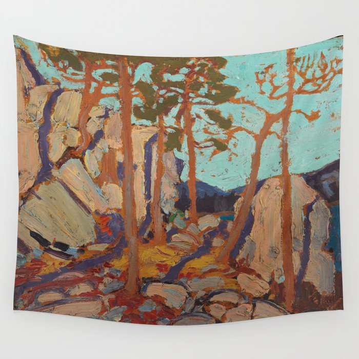 Tom Thomson - Pine Cleft Rocks - Canada, Canadian Oil Painting - Group of Seven Wall Tapestry