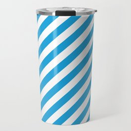 Oktoberfest Bavarian Blue and White Candy Cane Stripes Travel Mug